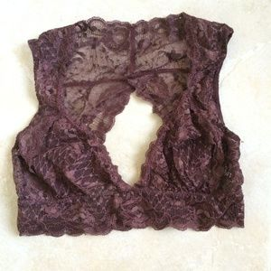 Free People maroon lace bralette